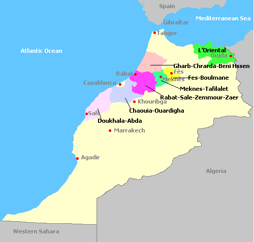 Map of the Morocco wine regions