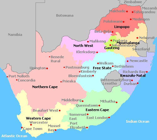 South Africa - Where is south africa map world