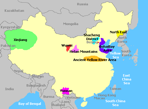 Map of China and its wine regions