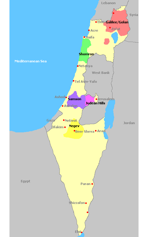 Map of Israel and its wine regions
