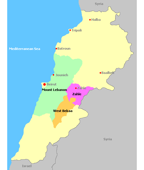 Map of Lebanon and its wine regions