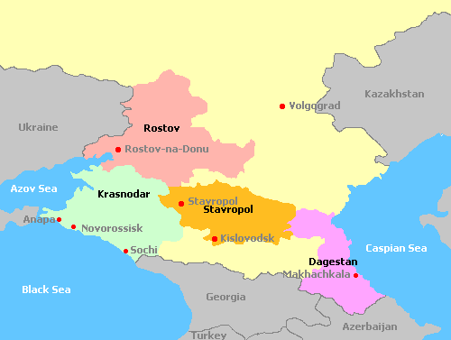 Map of North Caucasus and its wine regions