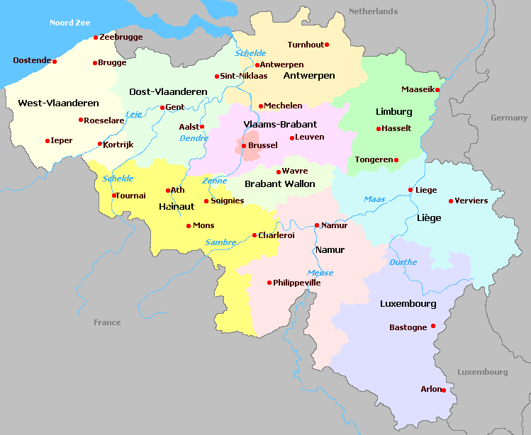 belgium and departments map carte des dpartements de la rgion belgium