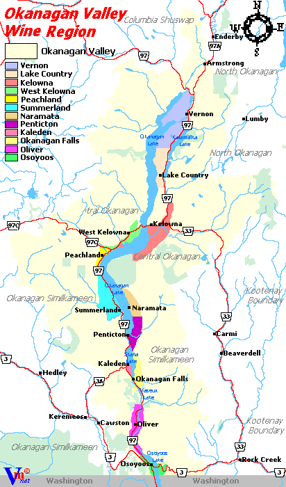 Map of Wine Regions in the British Columbia