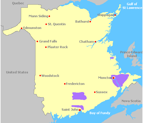 Map of Wine Regions in the New Brunswick