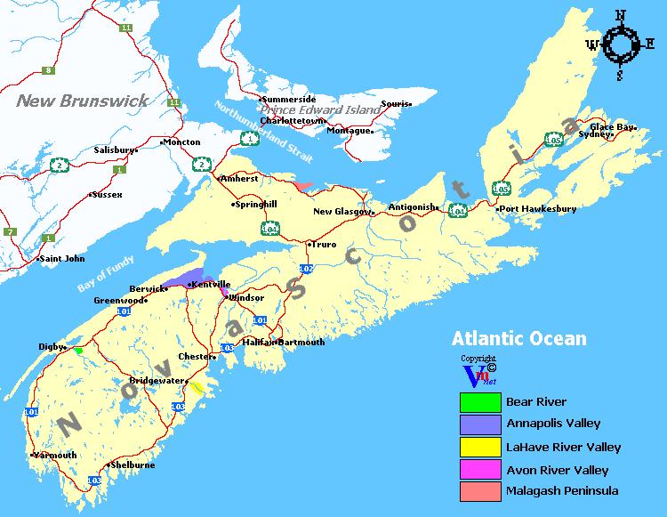 Nova Scotia Wine Regions And Wineries - Nova scotia map