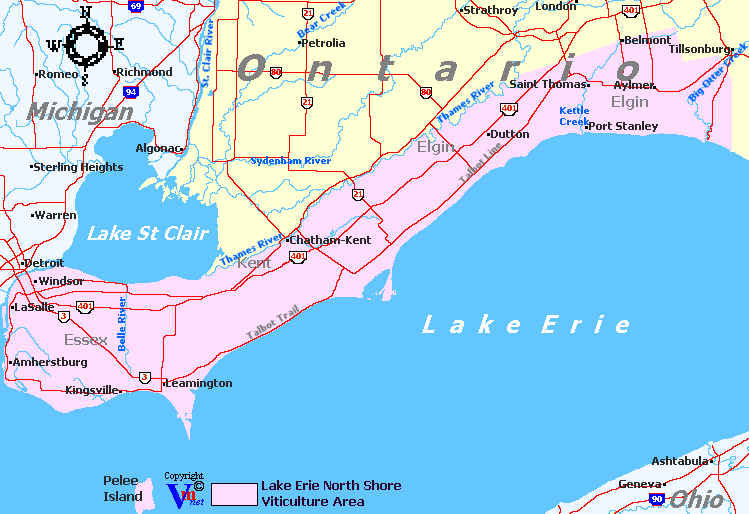 Map Lake Erie Canada Lake Erie North Shore, Ontario