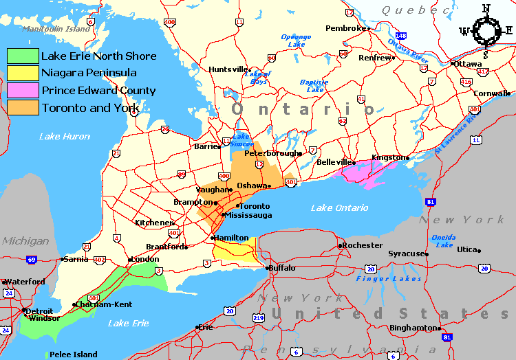 Ontario Wine Regions And Wineries - Us wine regions map