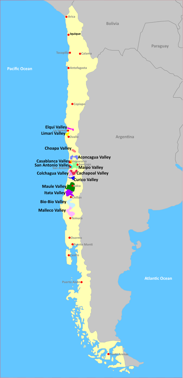 Map of Wine Regions in Chile