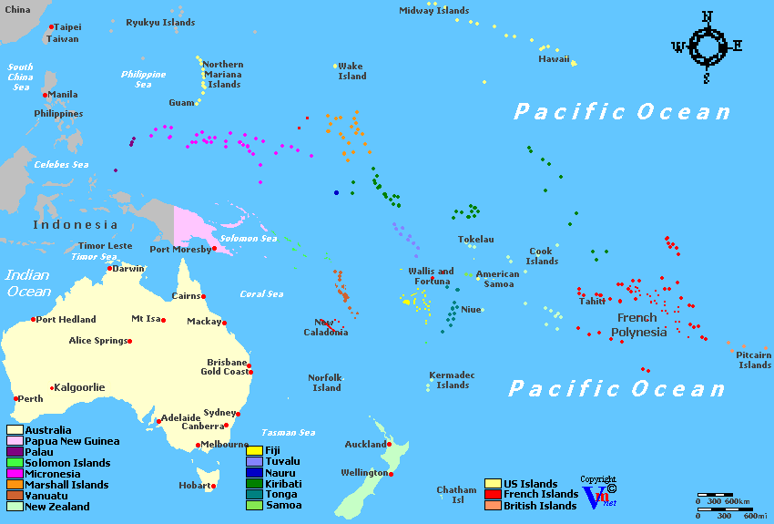 Oceania Wine Regions - Map oceania