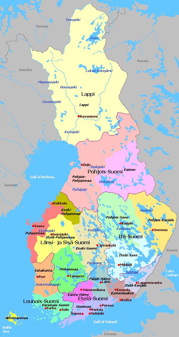 Finnland Regionen Karte