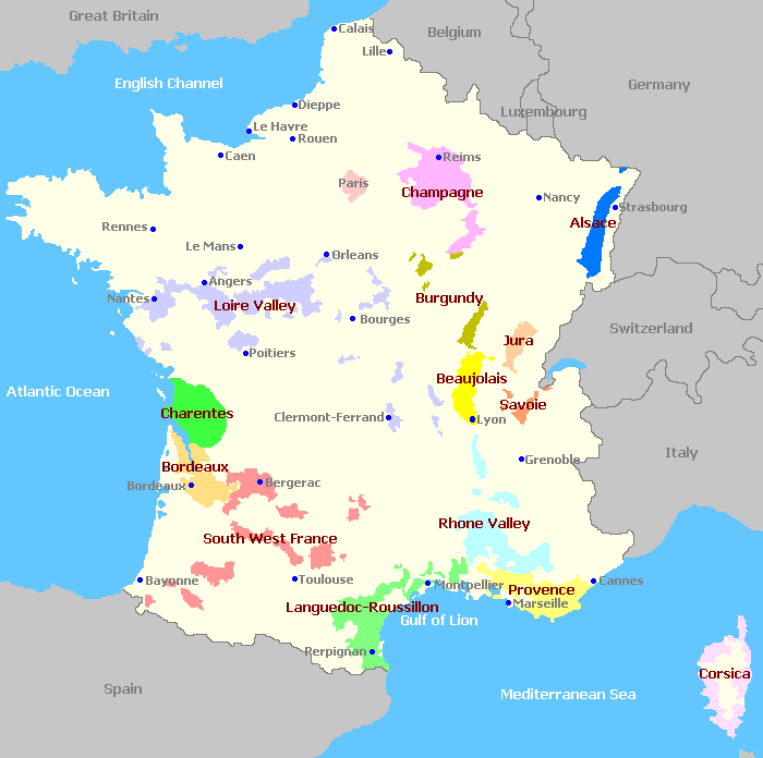 Map Of Regions Of France.France Wine Regions Map