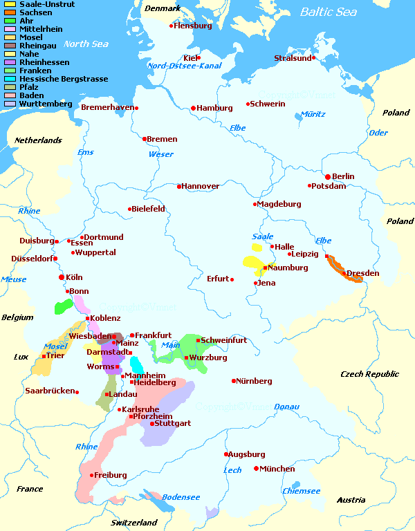 Map Of Germany Regions.Germany S Wine Regions