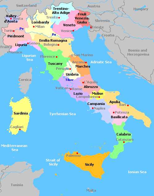 Map Of South Italy.Italy