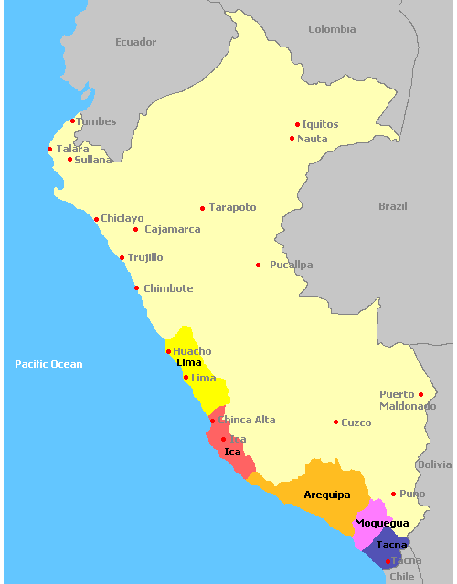 Map of Wine Regions in Peru