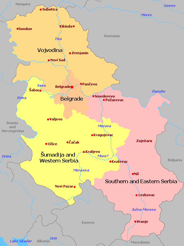 Serbia - Map of serbia