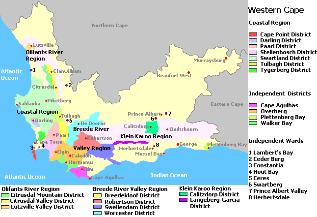 Map Of Western Cape South Africa