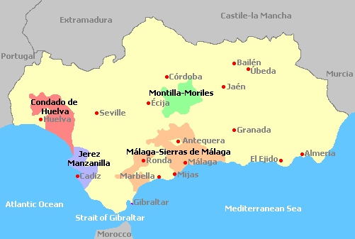 Andalusia Wine Regions Spain - Map of andalusia