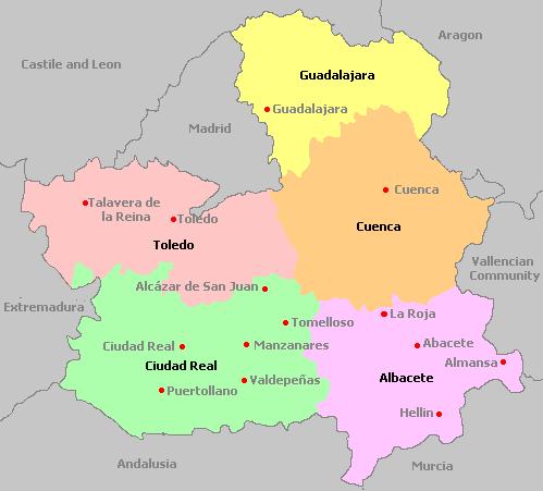 Map Of Spain La Mancha.Castile La Mancha Spain
