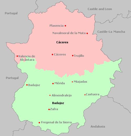 Map Of Spain Extremadura.Extremadura Spain