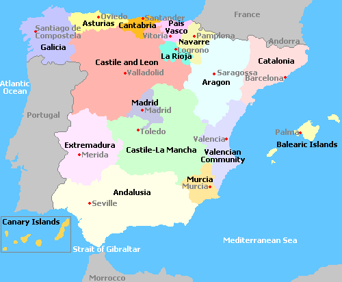 Map Of Spain Oceans.Map Of Spain