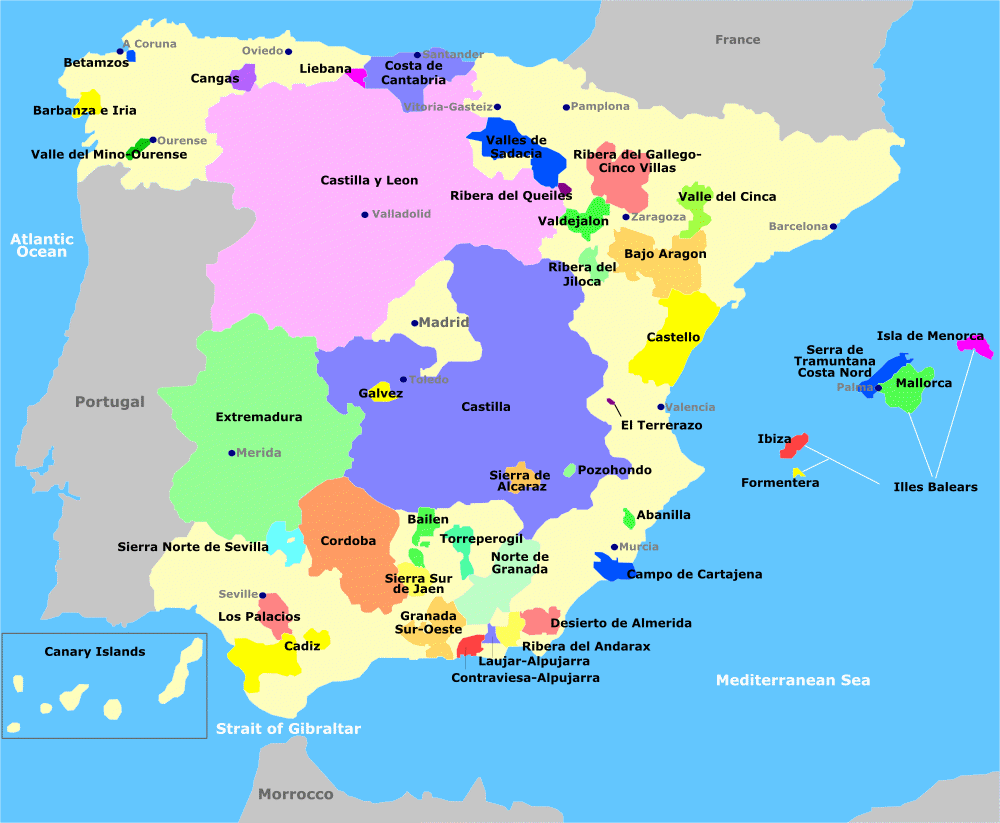 Map Of Spain Jaen.Map Of Spain Wine Regions Vinos De La Tierra