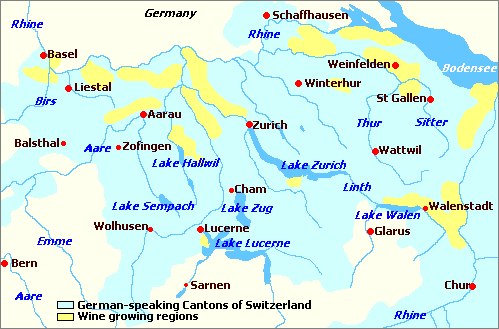 Map Of Germany And Switzerland.Switzerland Wine Regions