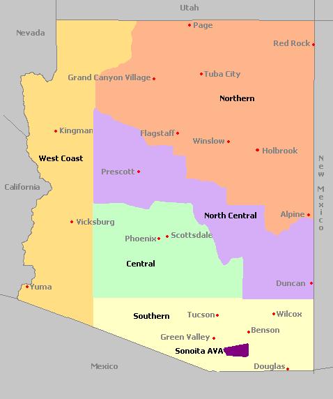 Map Of Arizona Regions.Arizona