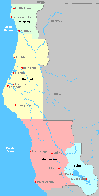 Map of Californias North Coast Wine Regions