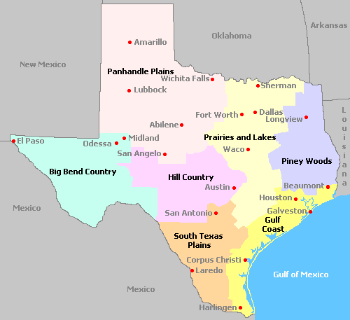 Image result for map texas regions