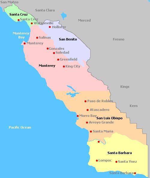 California Central Coast Map Map of Central Coast, California Wine Regions